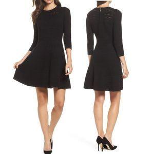Eliza J Fit & Flare Black Sweater Dress XL
